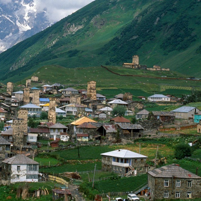 View of Mount Shkhara from Ushguli village in Georgia in the Caucases