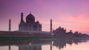 The Taj Mahal seen from the Yamuna River at dusk, India with GeoEx