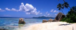 Beautiful perfect scene of the famous rocks and beach at La Digue in the Seychelle Islands of Africa.