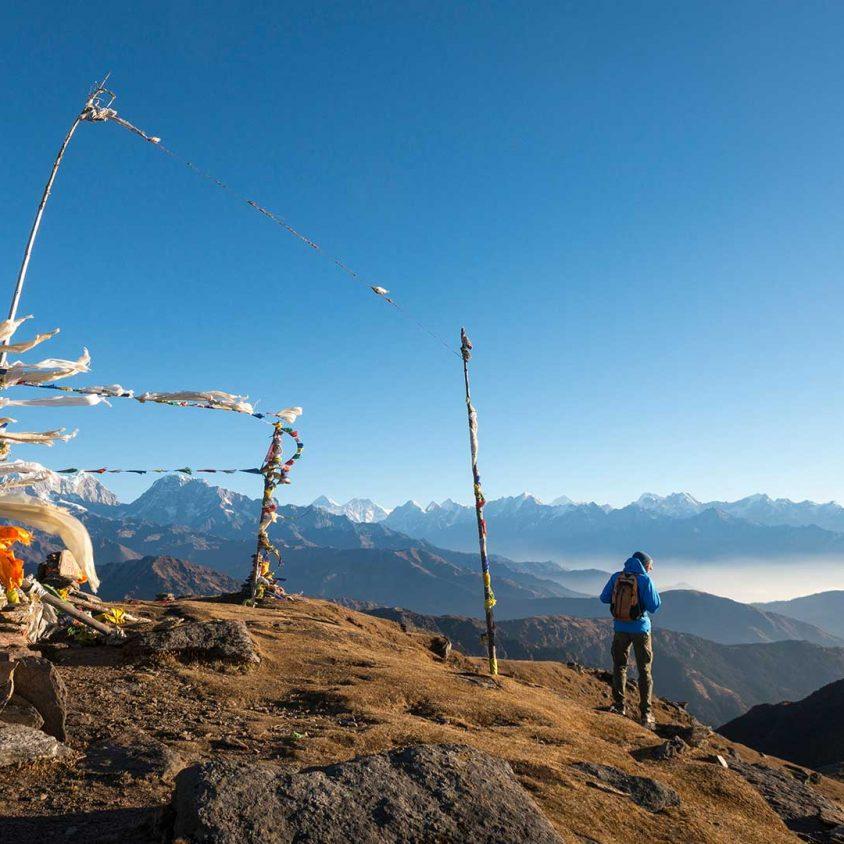 Pikey Peak with prayer flags, Lower Khumbu, Nepal