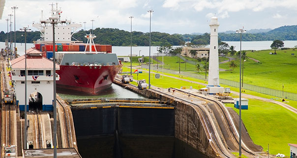 Cargo ship entering Gatun Locks of the Panama Canal, Panama
