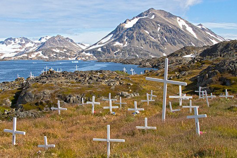 White crosses in Greenland.
