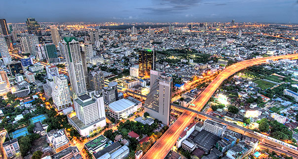 Overview of Bangkok, Thailand at dusk