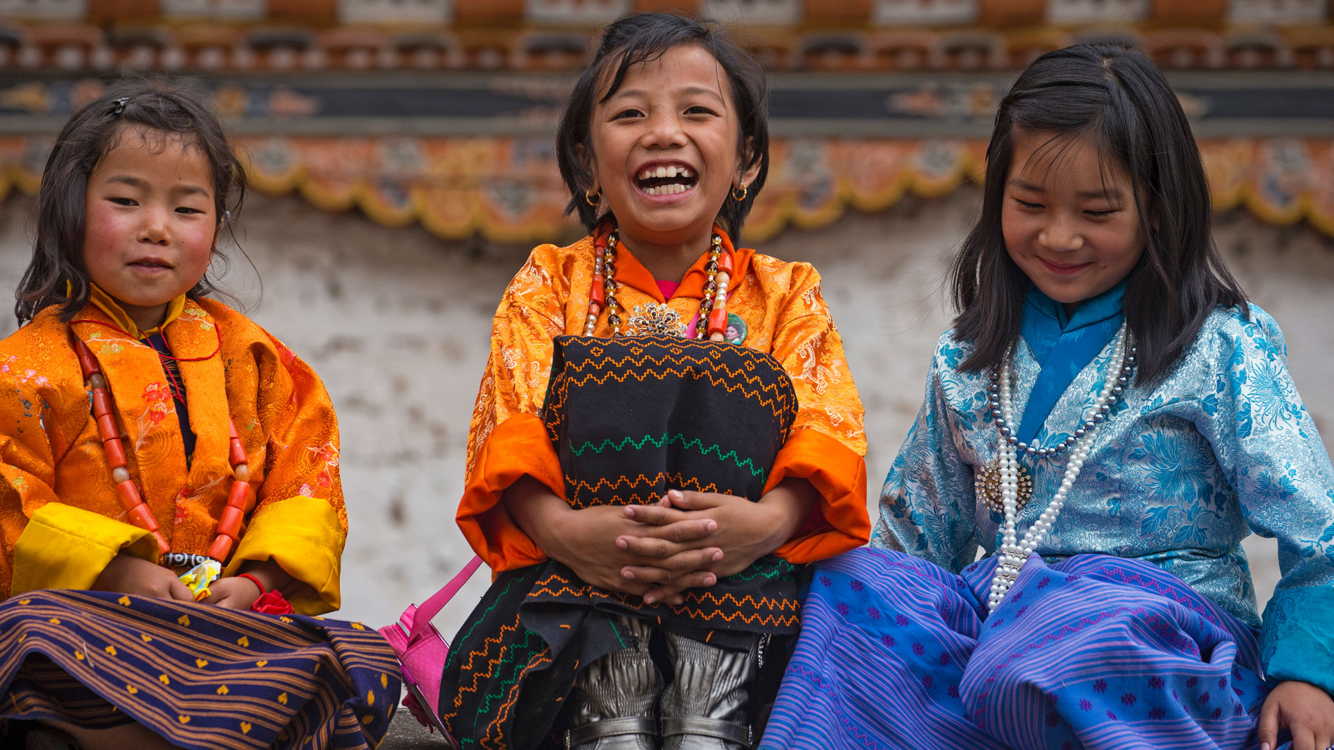 Children at Paro Rinpung Dzong in Bhutan