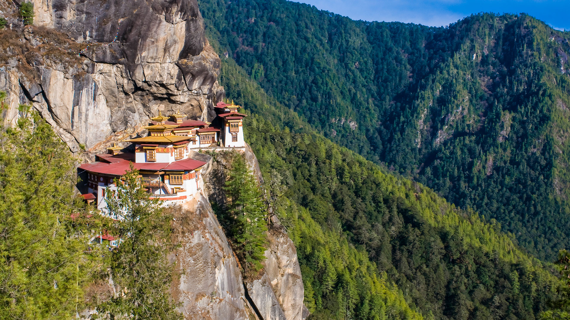 Tiger's Nest monastery perched on a cliff near the Paro Valley, Bhutan
