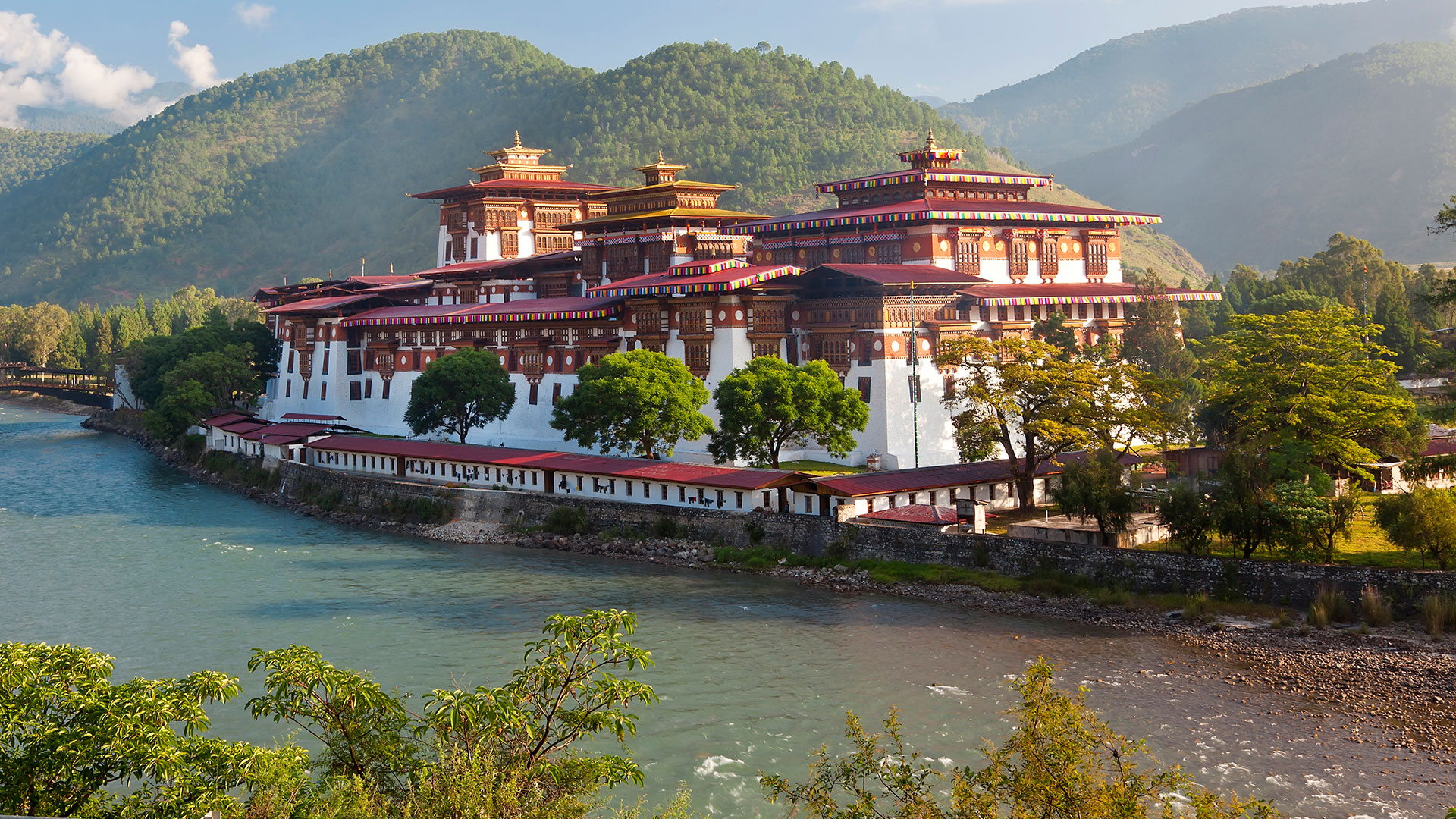 Punakha Dzong set at the confluence of two rivers, Bhutan