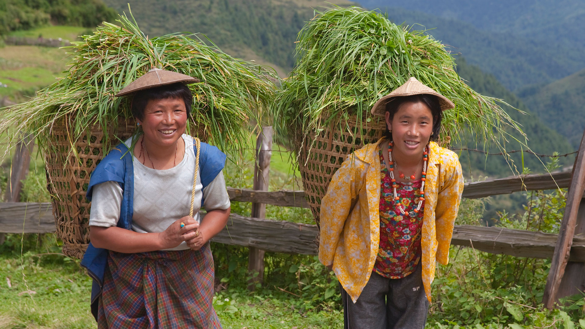 Two women farmers carrying baskets of grass, Bhutan