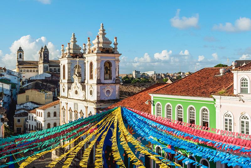 Festival decorations in Pelourinho, Salvador da Bahia, Brazil