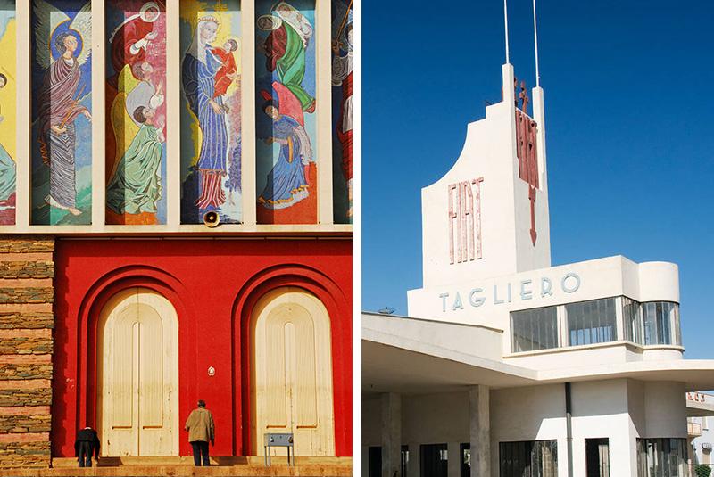 Nda Mariam Orthodox Church & Fiat art deco building in Asmara, Eritrea