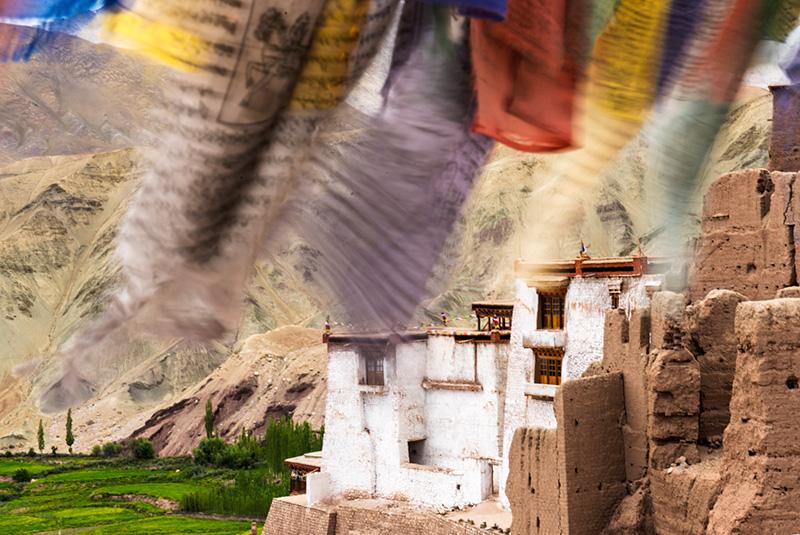 Basgo Monastery and prayer flags in Ladakh, India