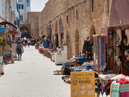 Alleyway with shops in Essaouira, Morocco.