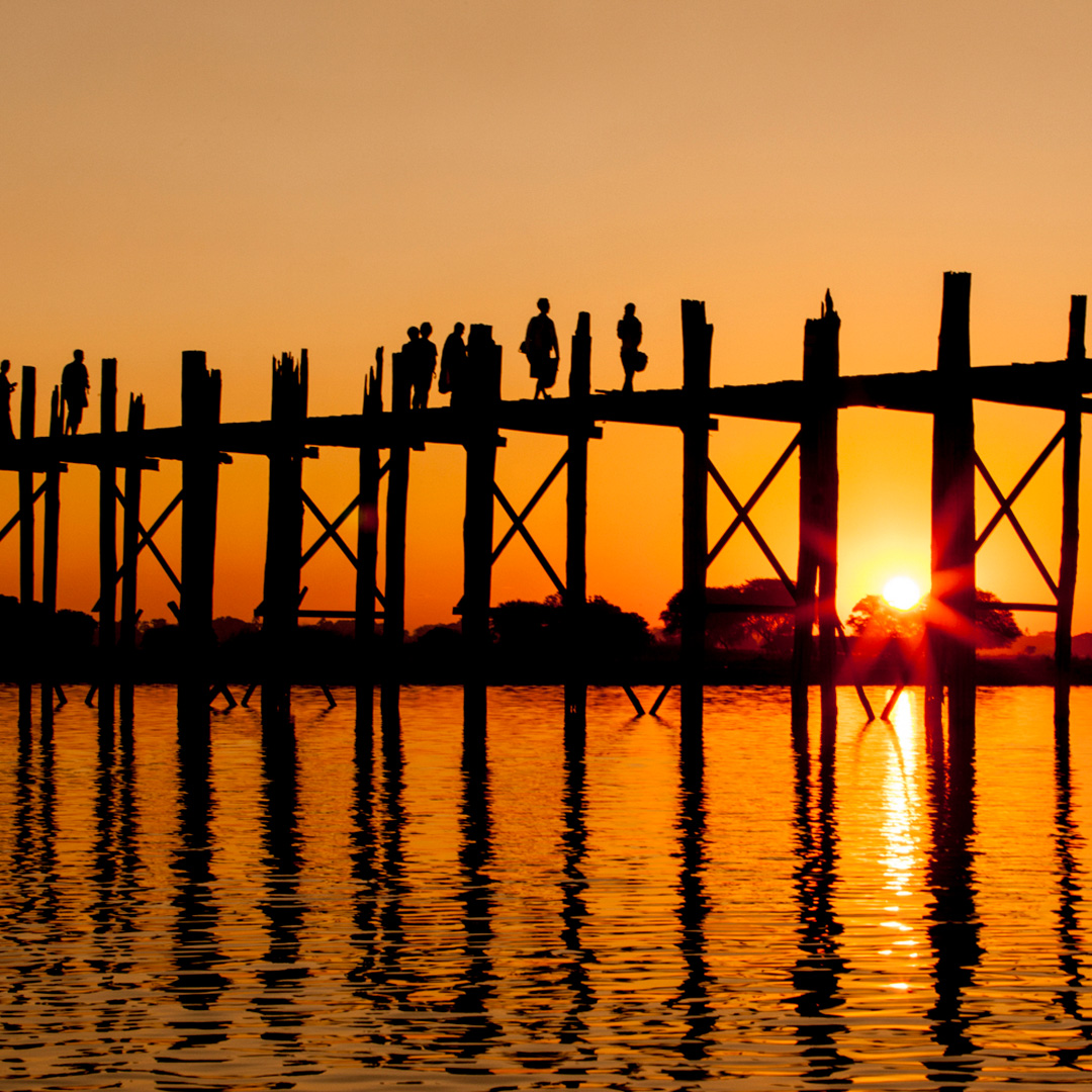 Sunset at the teak U Bein Bridge, Myanmar
