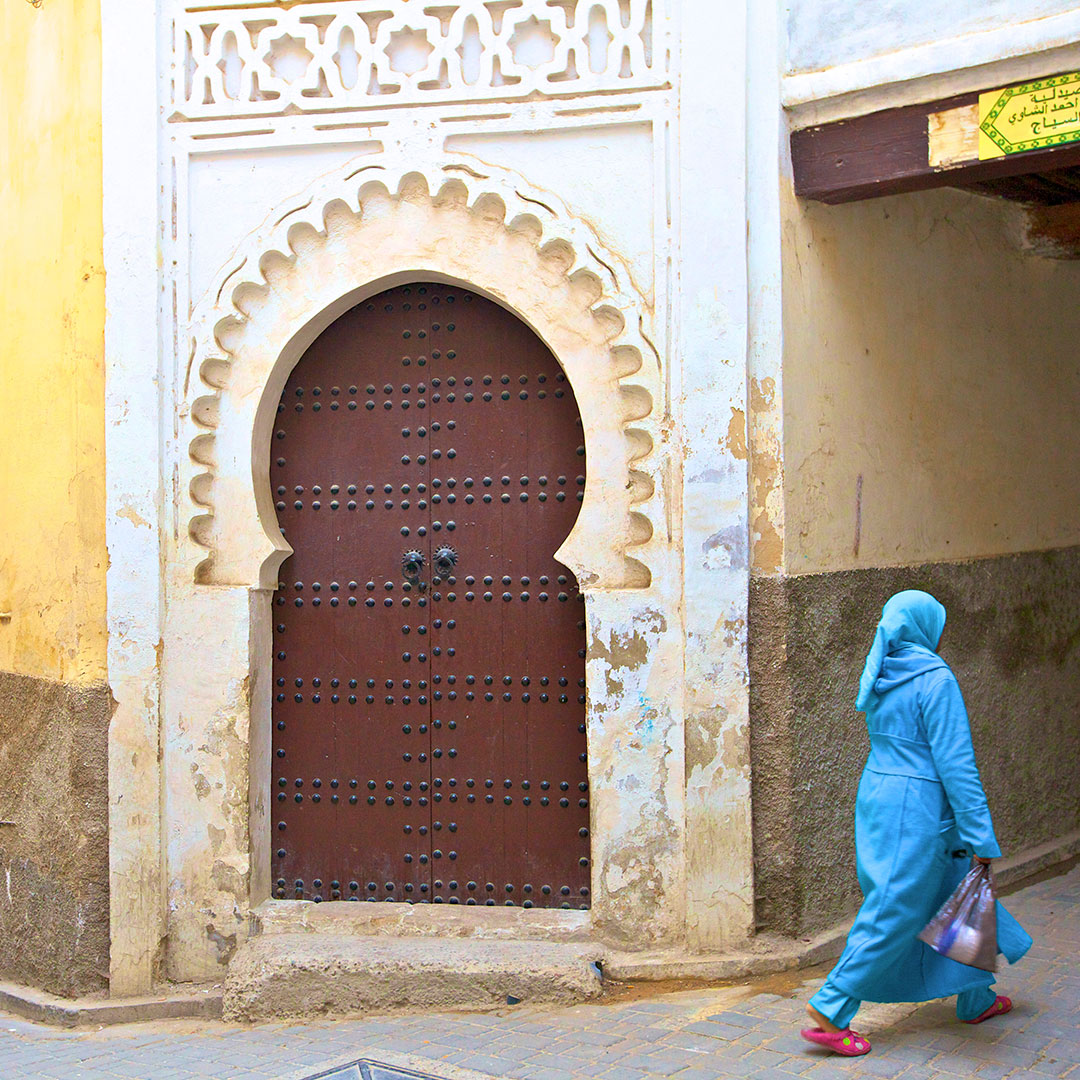 Woman In Traditional Costume, Medina, Fez, Morocco, North Africa