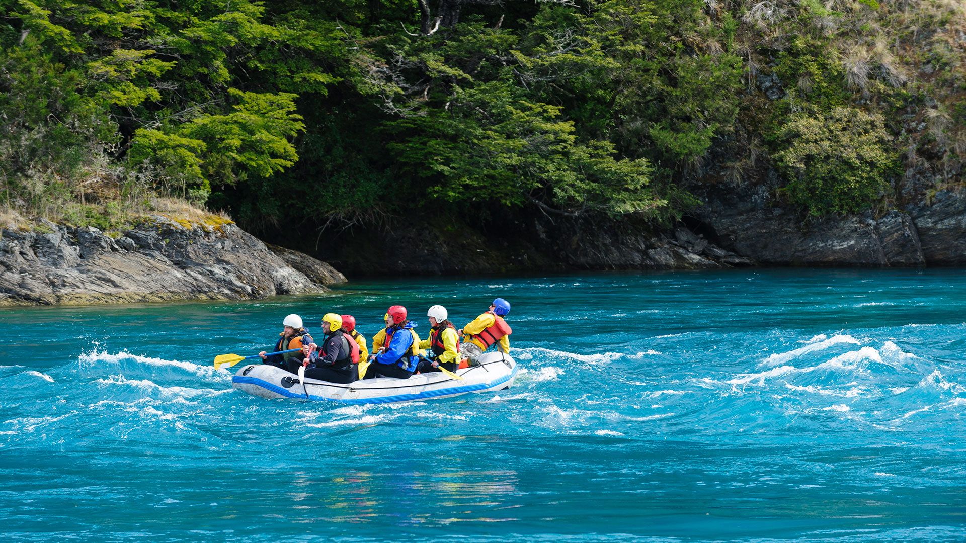 Rafting on the Baker River in the Aysen Region, Chile