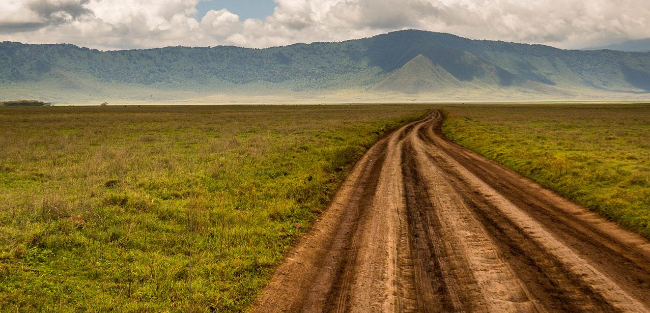 Open road in the Ngorongoro Crater, Tanzania