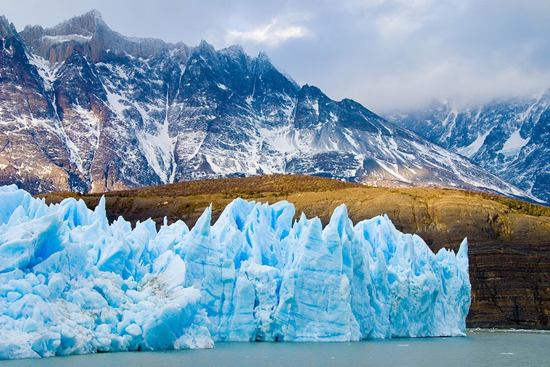 A glacier and mountain in Chilean Patagonia.