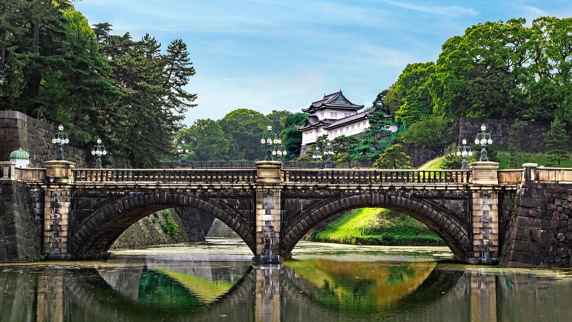 Imperial Palace and Nijubashi Bridge in Tokyo, Japan