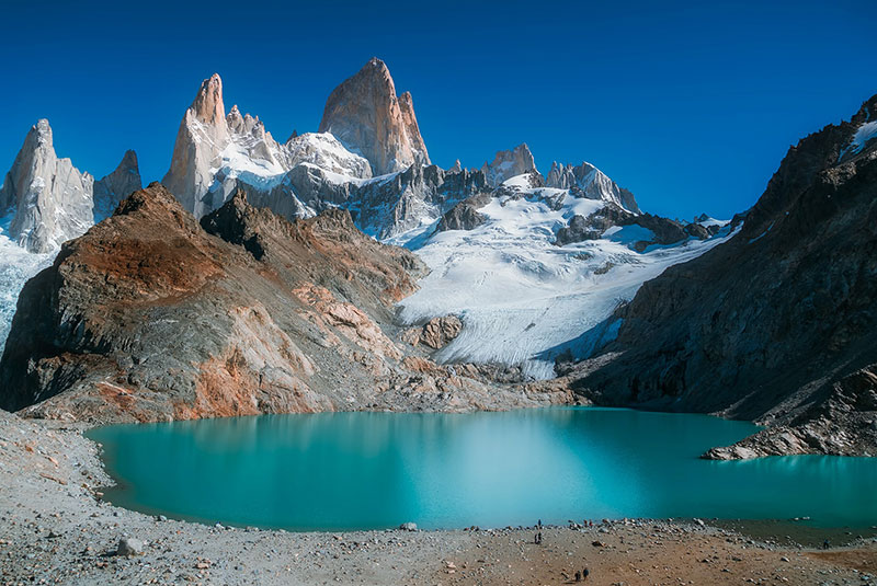 Mount Fitzroy and a glacial lake in Patagonia