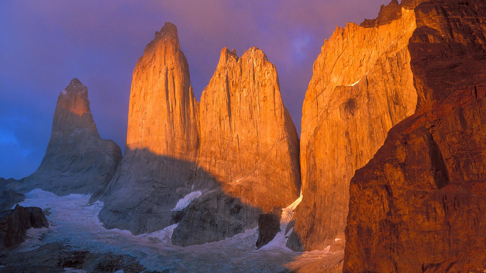 Sunrise on the granite Torres del Paine, Chile