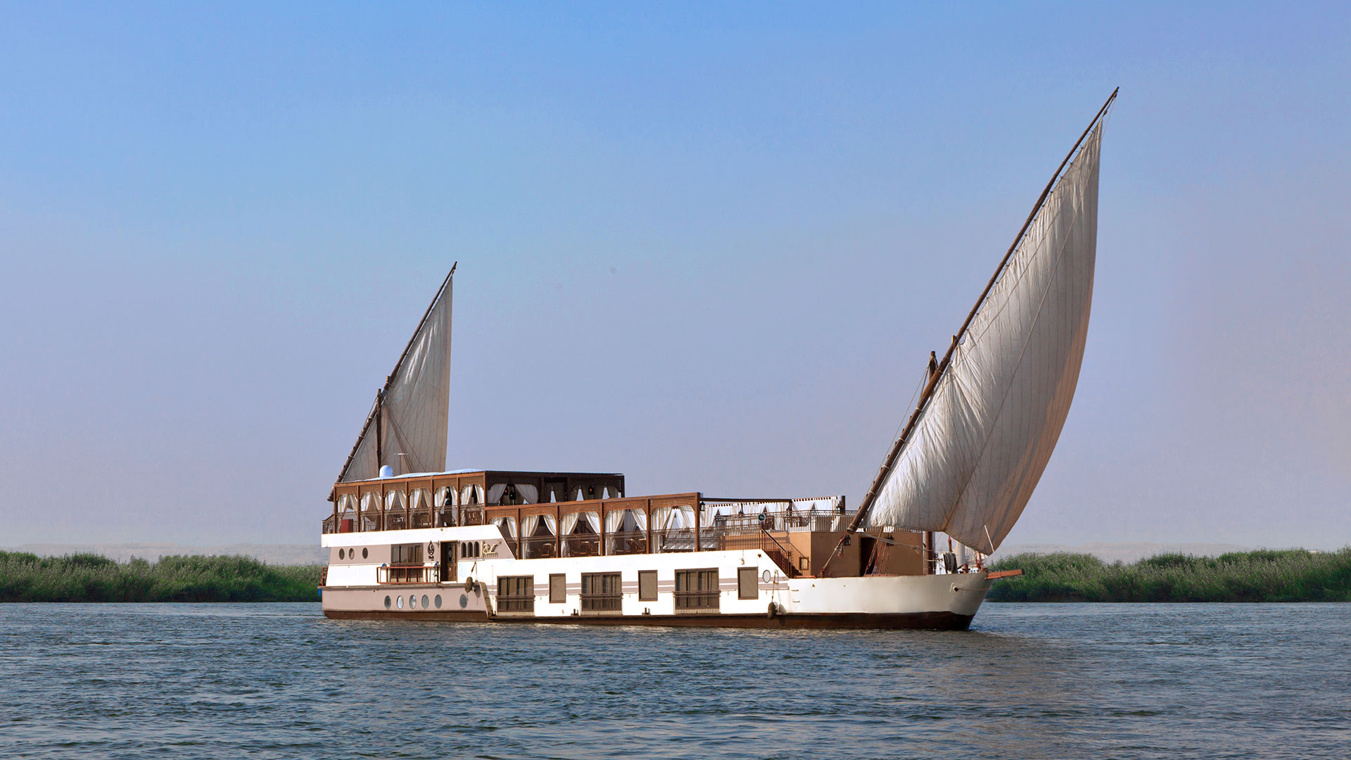 The Yakouta dahabeya cruising the Nile River in Egypt