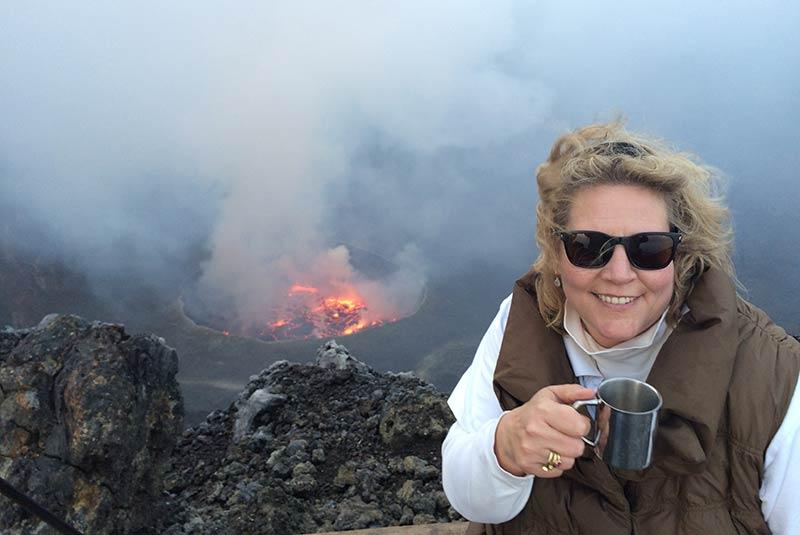Kate Doty on top of Mt. Nyiragongo