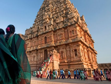 Worshippers at the Brihadishwara Temple in Tanjore, India