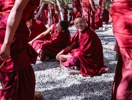 Monks debating philosophy at Sera Monastery in Lhasa, Tibet