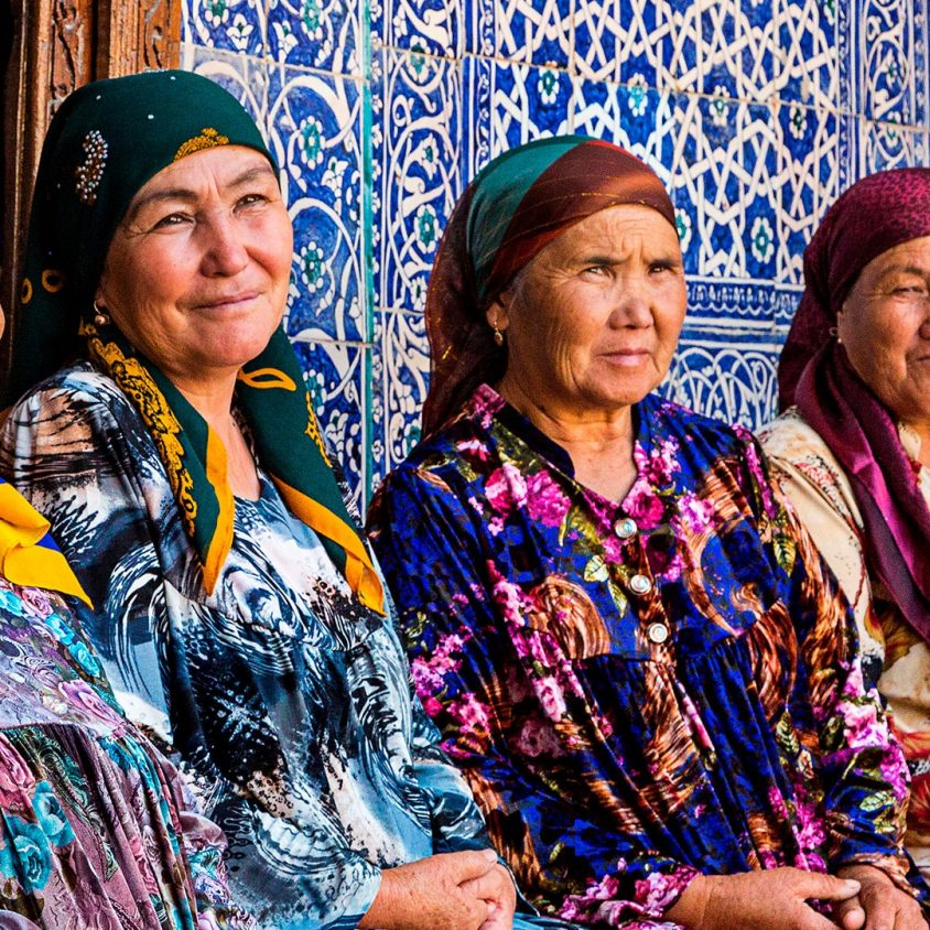 Uzbek women in colorful dress, Uzbekistan
