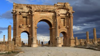 Trajan's Arch at the archaeological site of Timgad, Algeria