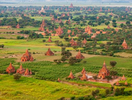 The iconic Plain of Temples seen from a hot-air balloon in Bagan, Myanmar