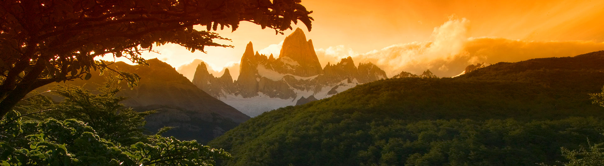 Sunset in Patagonia over Fitz Roy mountains