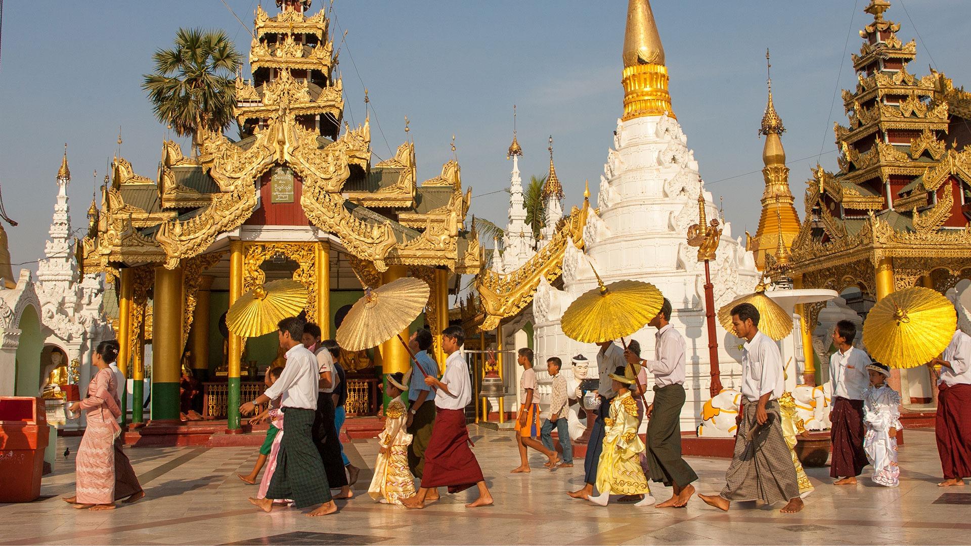 Procession near Shwedagon Pagoda in Yangon, Myanmar