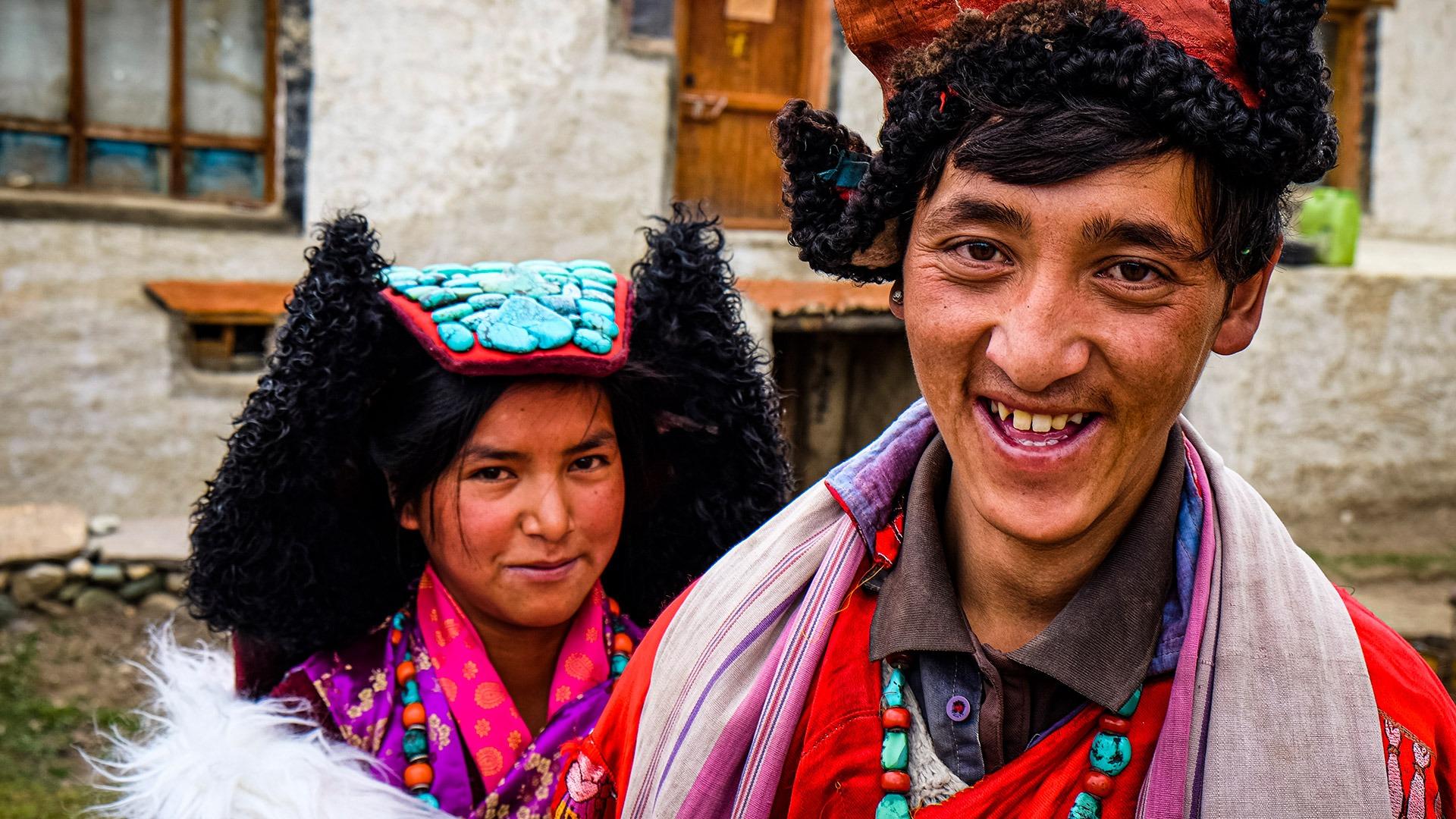 Man and woman in traditional festive attire, Ladakh, India