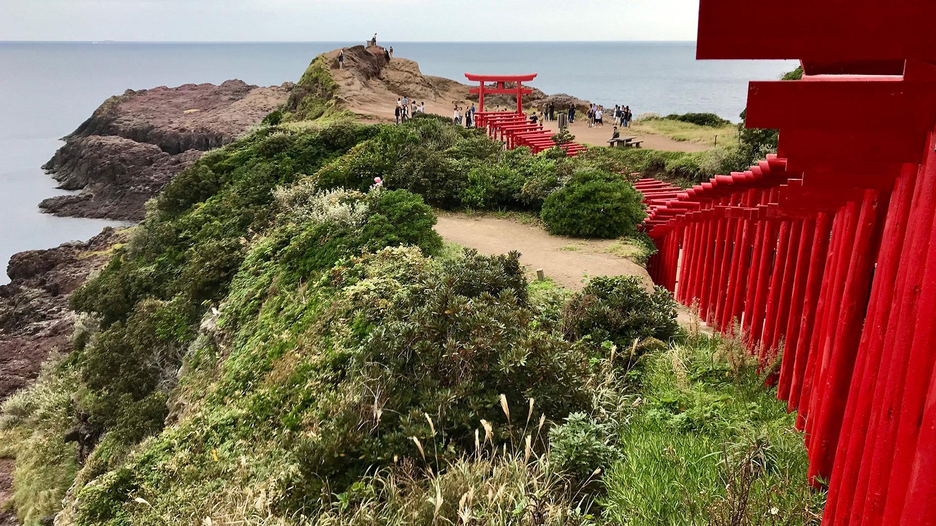 Red torii gates of Motonosumi Shrine in Nagato, Japan