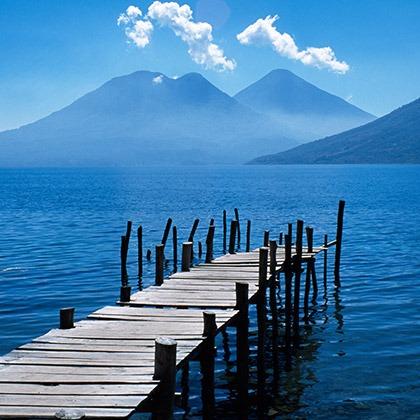 Lake Atitlan with Toliman and Atitlan volcanoes, Guatemala