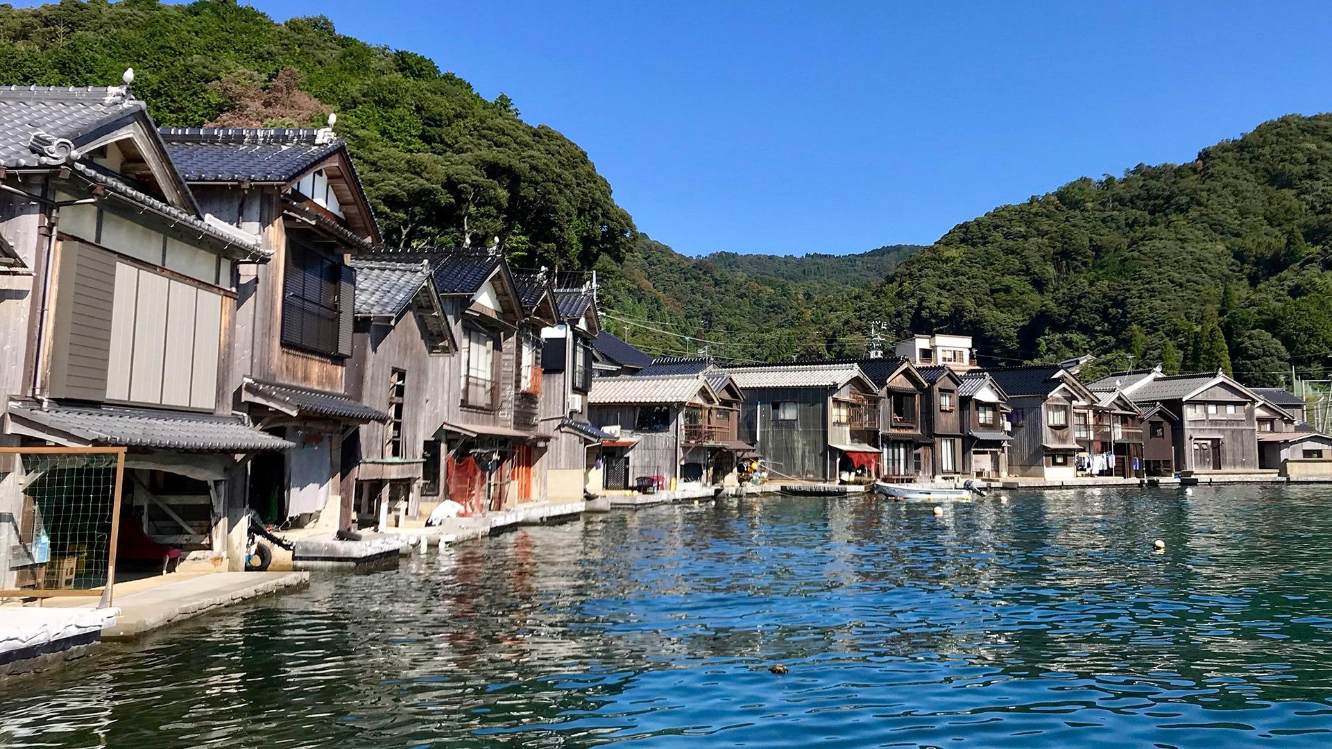 Funaya residences in the seaside village of Ine, Japan