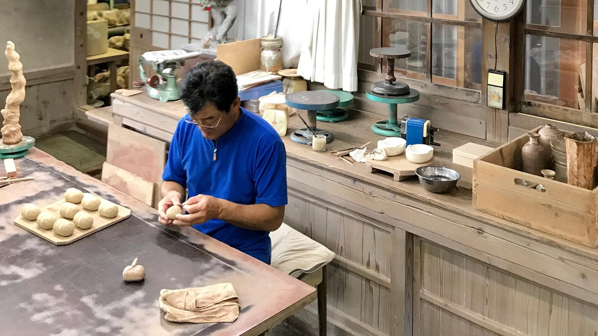 Hagi-yaki potter in his studio in Nagato, Japan