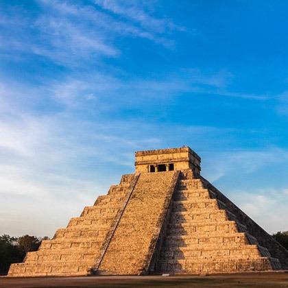 Stepped pyramid of Chichen Itza in the Yucatan, Mexico