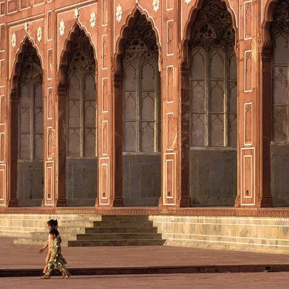 Arcade along the courtyard of the Badshahi Mosque in Lahore, Pakistan