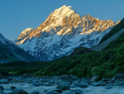 Mount Cook from Hooker Valley at sunset, South Island, New Zealand