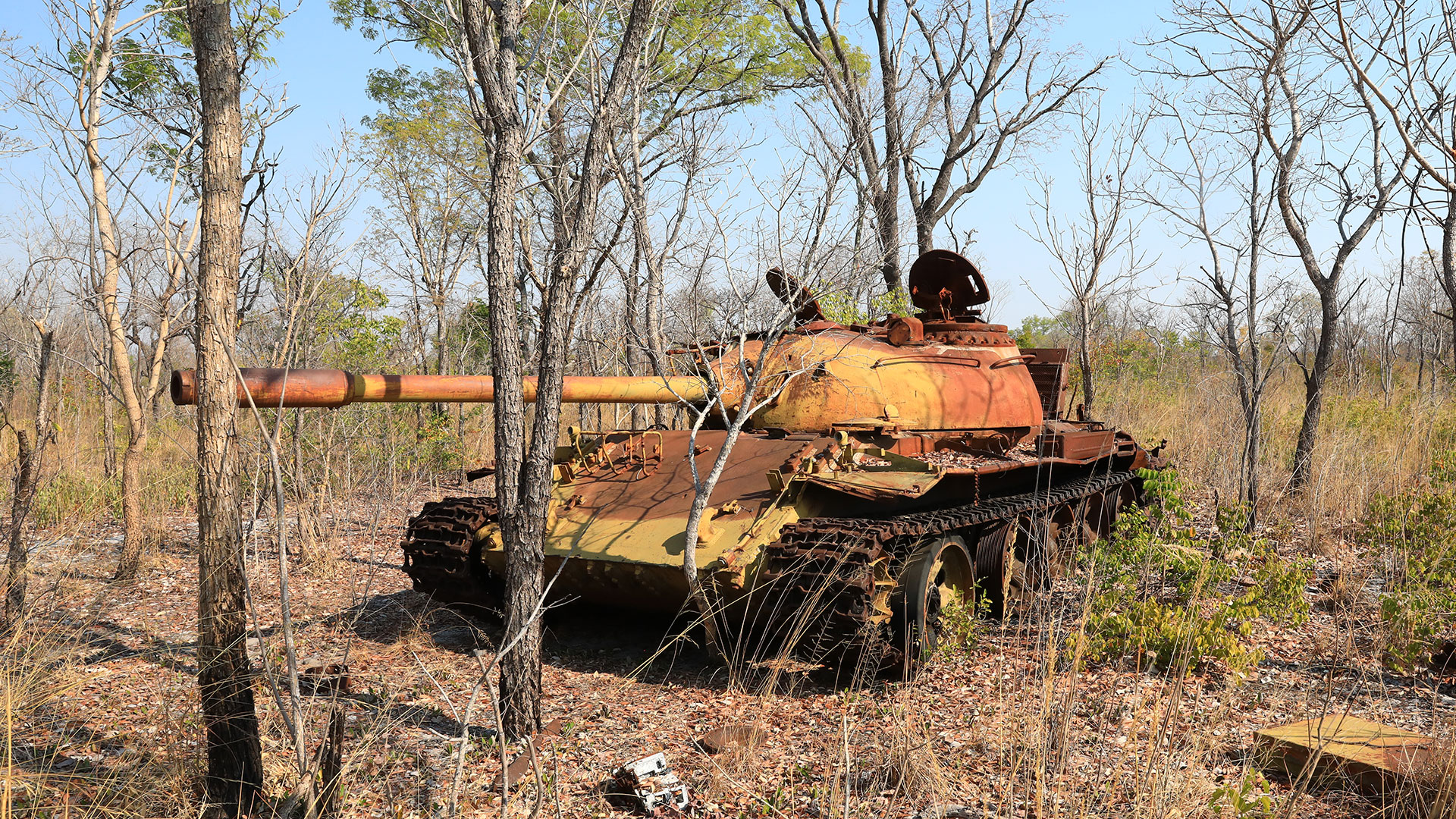 An abandoned tank on the Cuito Cuanavale Battlefield, Angola