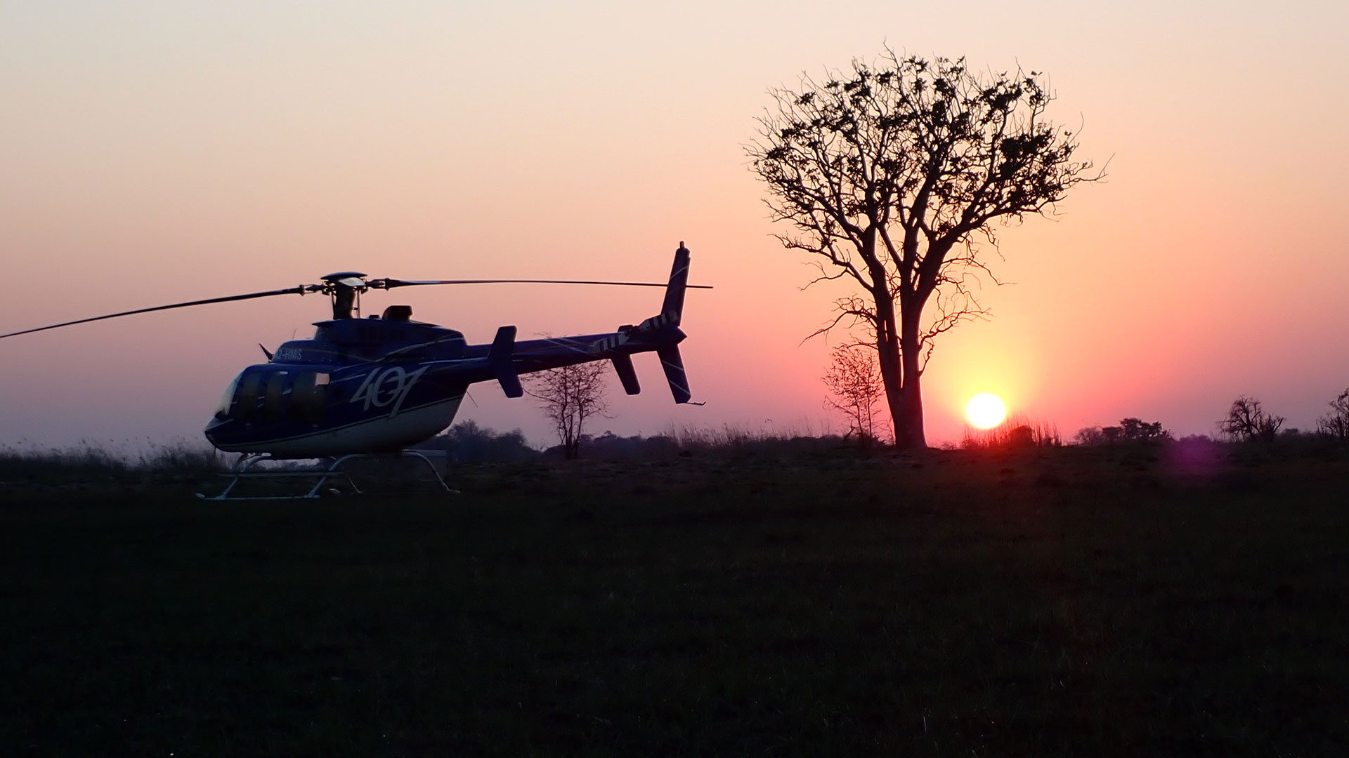 Bell helicopter on an expedition through Angola, Namibia and Botswana