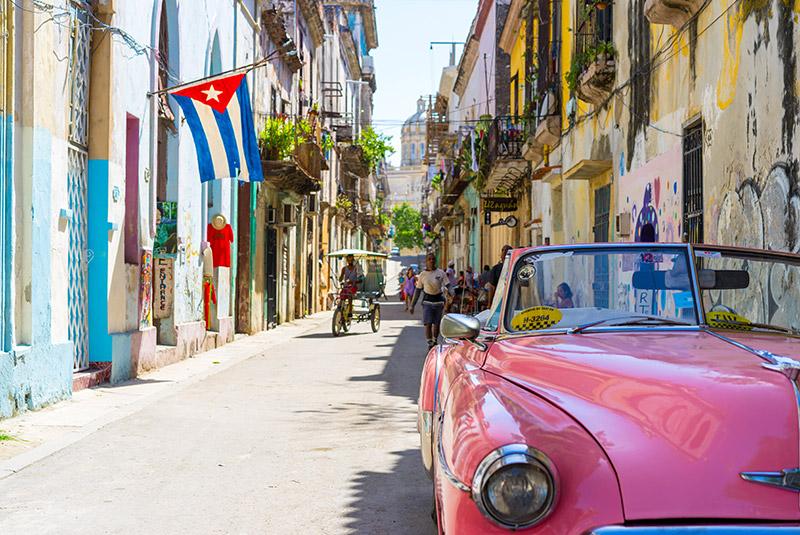 Classic car in a colorful street in old Havana, Cuba