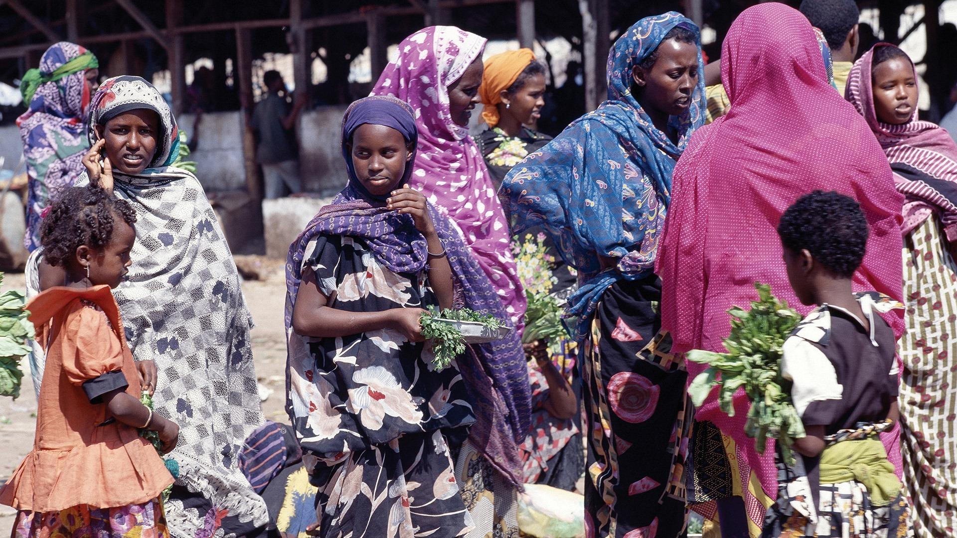Women at a market in Djibouti City, Djibouti