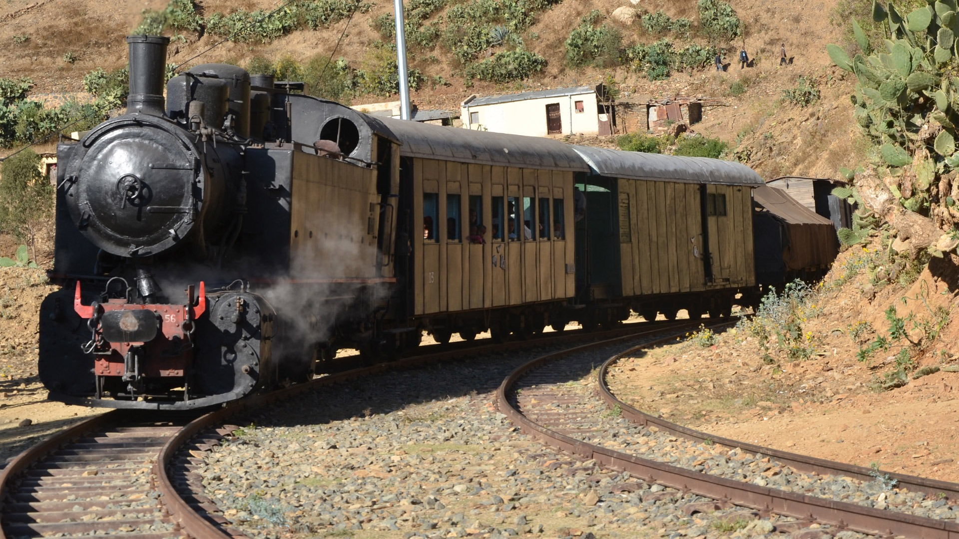 A stream train on the Eritrean Railway out of Asmara, Eritrea