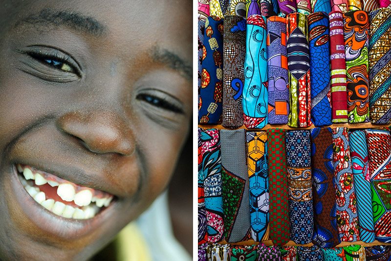 A smiling child in Abidjan and local textiles in Ivory Coast