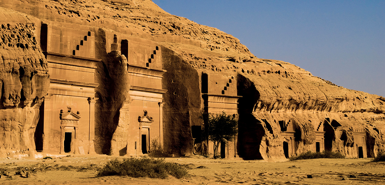 Tombs in the ancient Nabatean town of Hegra, also known as Madain Saleh, Saudi Arabia