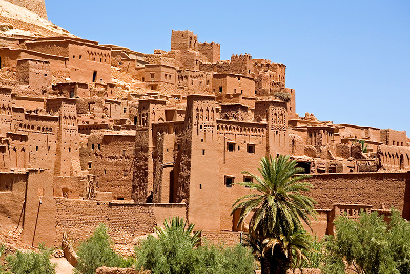 A rammed clay village in Ait-Ben-Haddou, Morocco