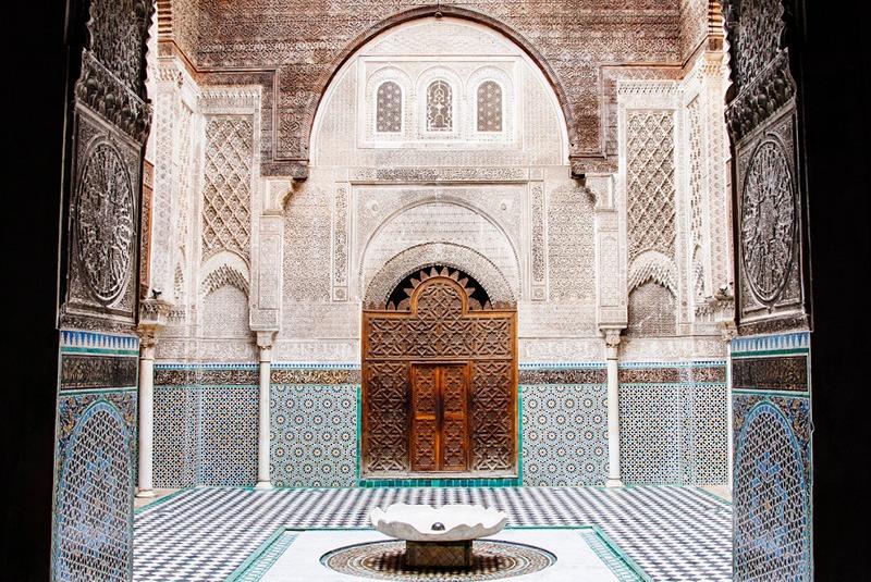 Courtyard of al-Attarine Madrasa in Fes, Morocco