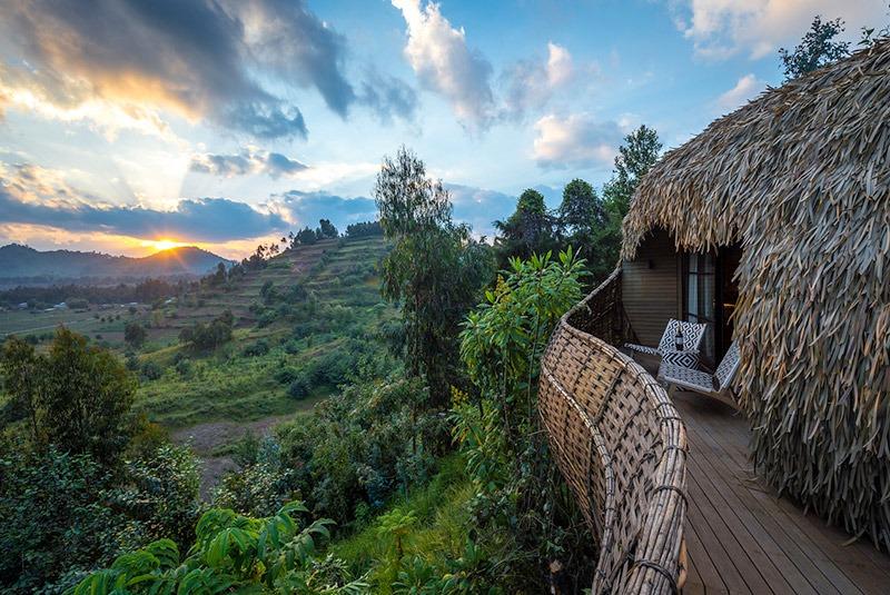 The view from a veranda at Bisate Lodge, Volcanoes National Park, Rwanda